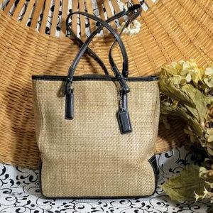 COACH-CABANA BLACK LEATHER AND WOVEN STRAW SATCHEL